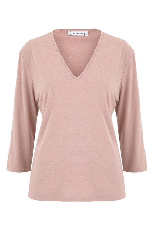 v-neck-dress-pink-three-quart-sleeve-cooling-wicking-breathable-cucumber-clothing