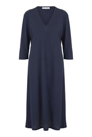 Navy V Neck Three Quarter Sleeve Dress