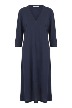 Navy V Neck Three Quarter Sleeve Nightdress