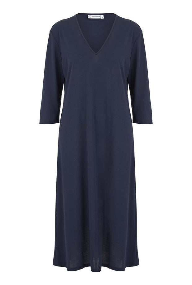 V Neck Three Quarter Sleeve Dress in Navy