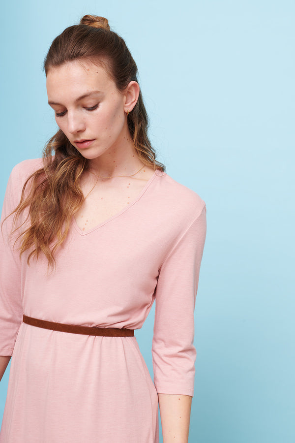 v-neck-dress-pink-three-quarter-sleeve-midi-cooling-wicking-breathable-cucumber-clothin