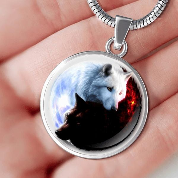 Yin Yang Fire Ice Wolves Pendant Necklace