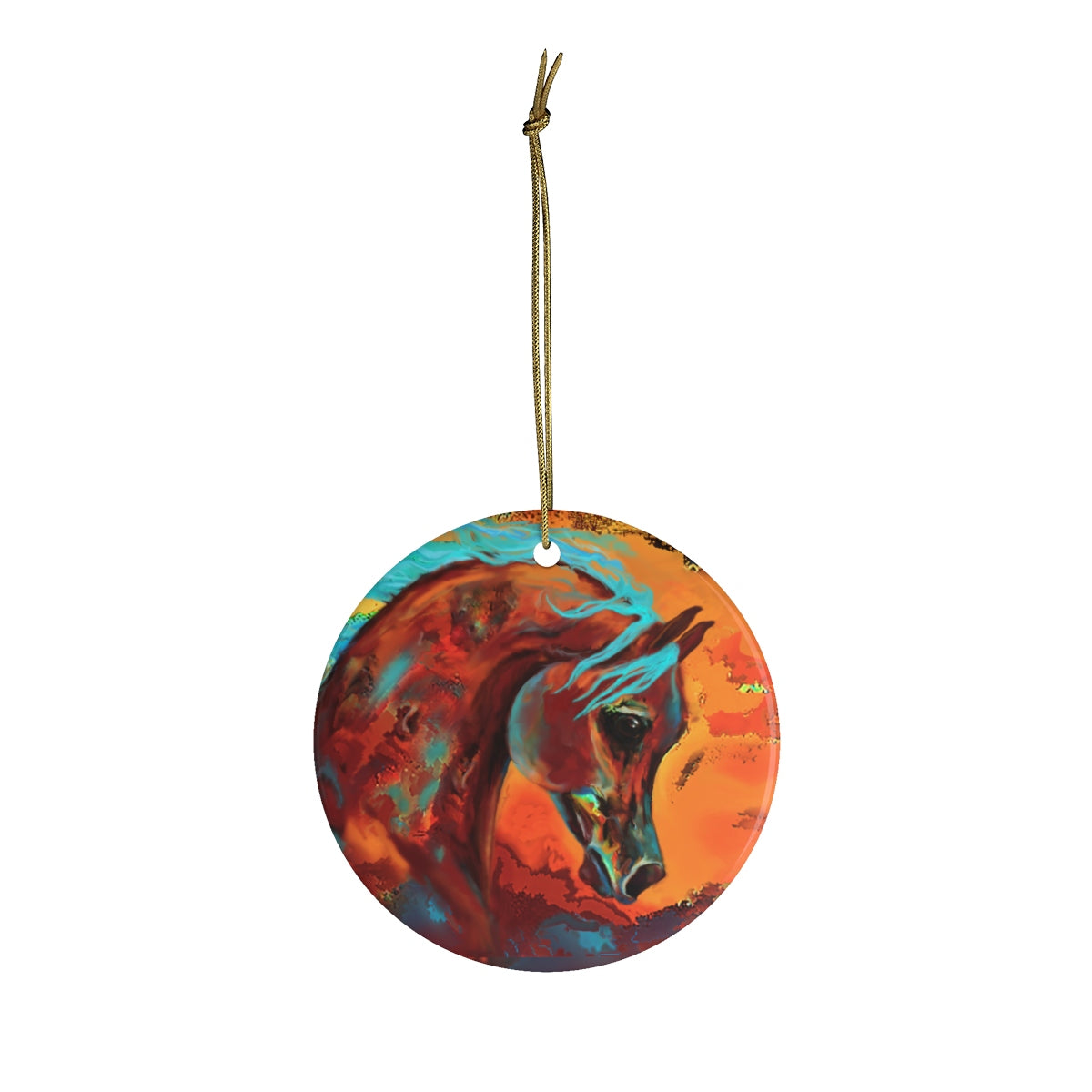 Horse of Many Colors Ceramic Ornament