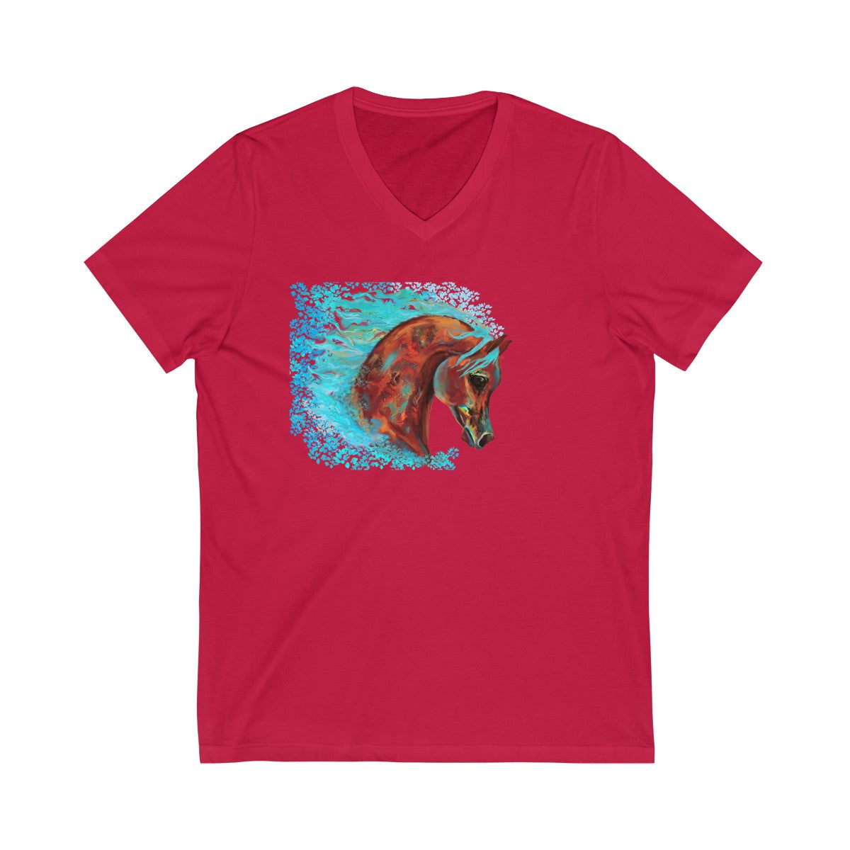 Colorful Soft and Oh So Pretty Arabian Horse Unisex Jersey Short Sleeve V-Neck Tee
