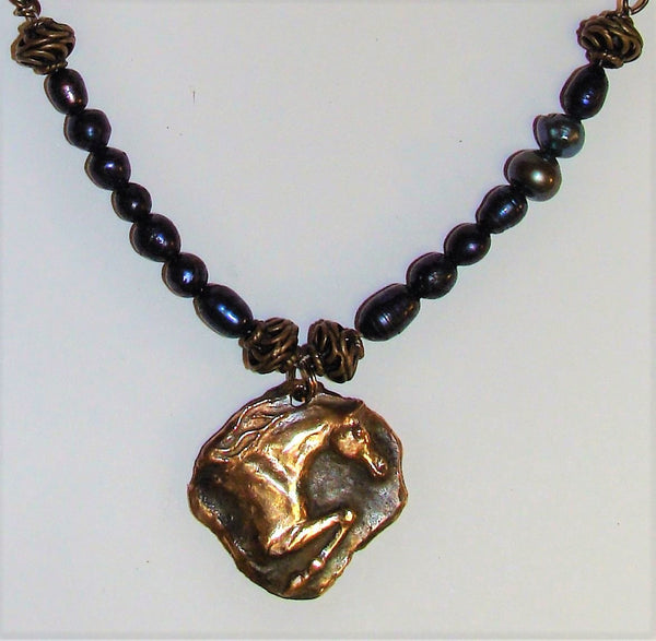 On sale...Jewlers Bronze Pendant with Fresh Water Pearls