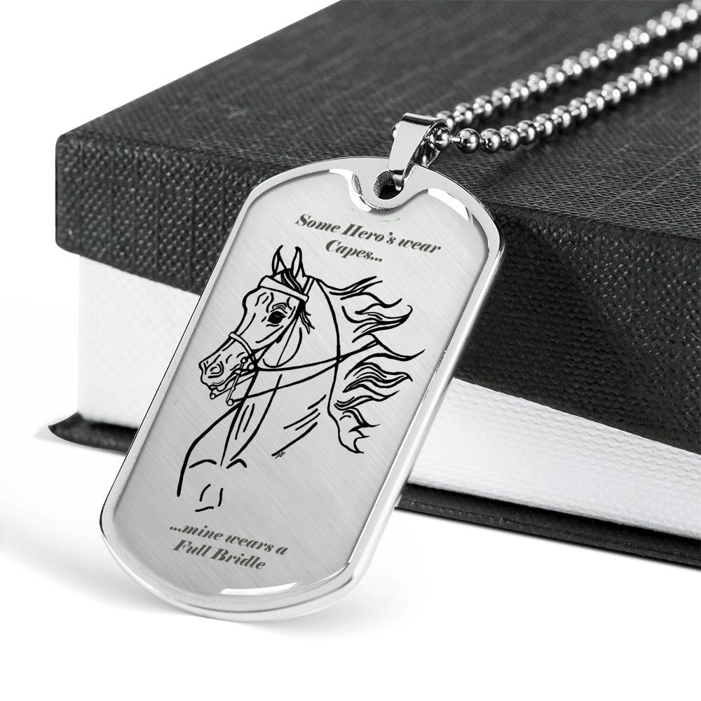 English Pleasure Saddleseat Horse Engravable Hero Luxury Dog Tag Necklace