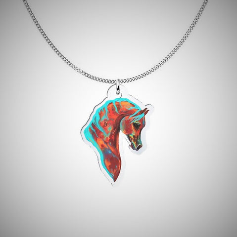 Colorful Horse Sterling Silver Necklace