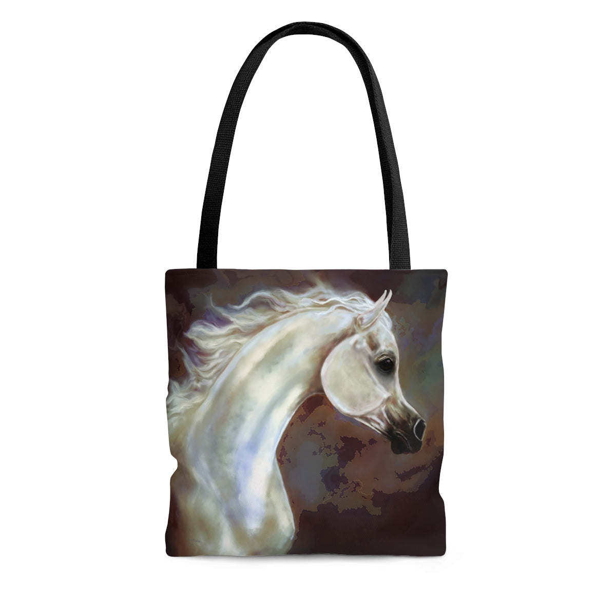 Arabian Horse print Tote Bag 3 sizes Original Horse art gift for horse person Grey and black