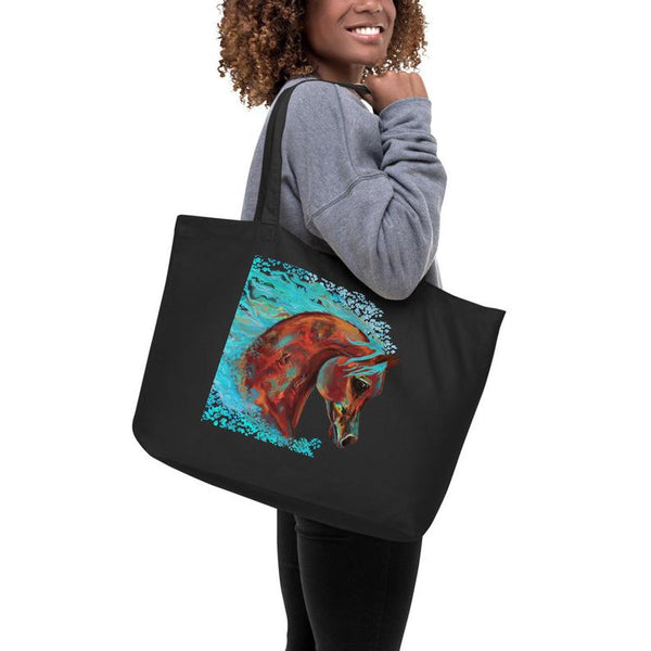 Arabian Horse Original Horse print on Large organic tote bag printed on front and back