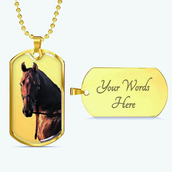 Your Horse Portrait Photo on 18k Gold Plate necklace