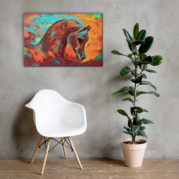 Arabian Horse Print on Gallery Wrapped Canvas Beautiful, Colorful Original Horse Painting Print