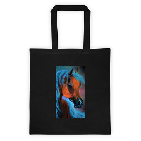 Original Horse print on  Black tote bag Arabian Horse painting Colorful Blue satchel bag