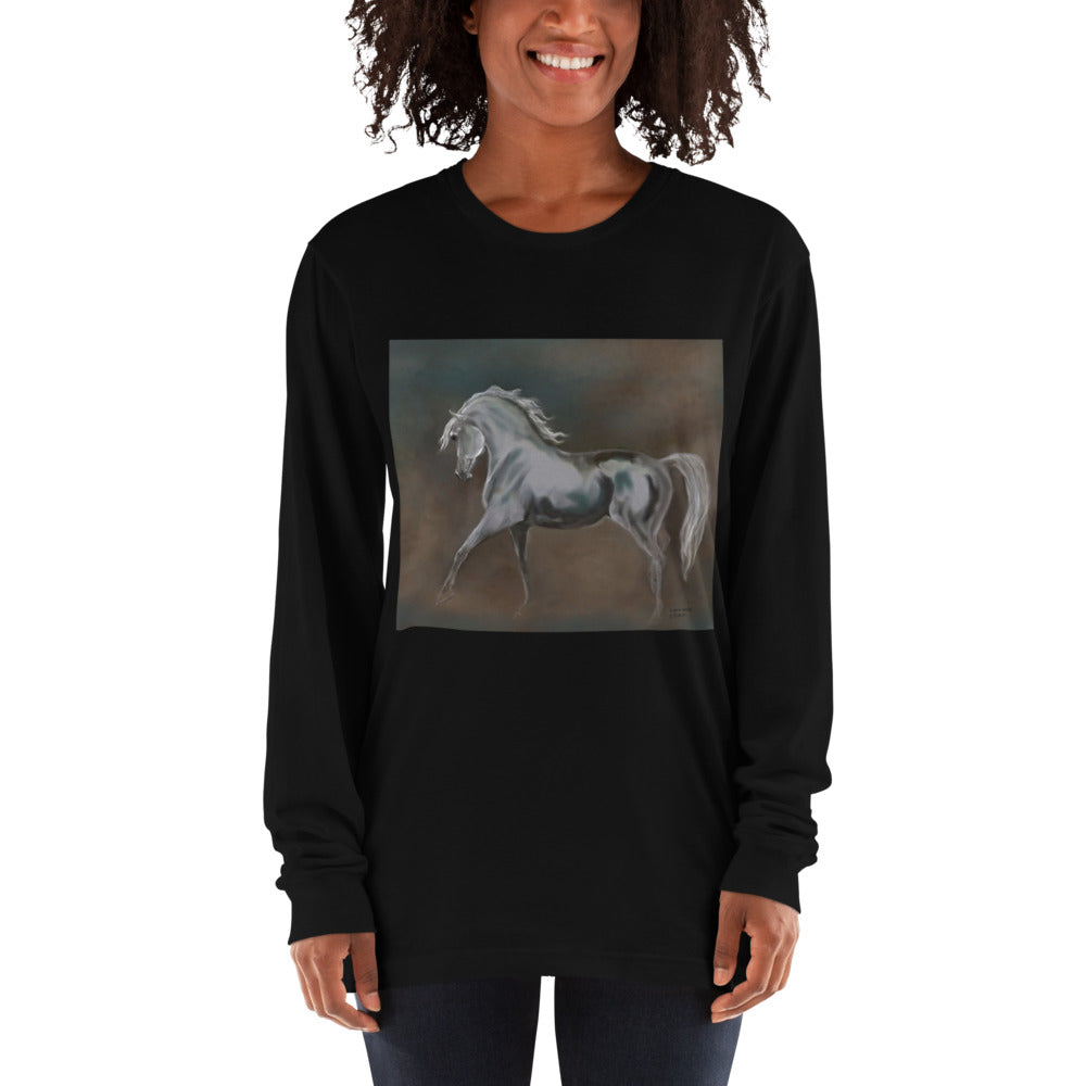 Horse Shirt Arabian Horse Comfy Grey Navy Black Original Horse painting Print Long sleeve t-shirt