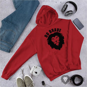 Do Brave Lion Unisex Hoodie - Red / S