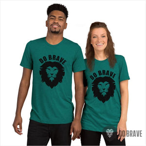 Do Brave Lion Unisex Tri-Blend T-Shirt (Black) - Teal Triblend / XS