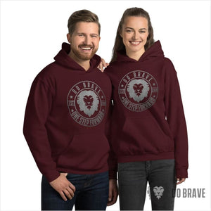 Do Brave Logo Unisex Hoodie (Silver) - Maroon / S