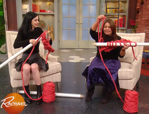 Extreme knitting on Rachael Ray show Krysten Ritter with giant knitting needles and super bulky felted merino wool yarn