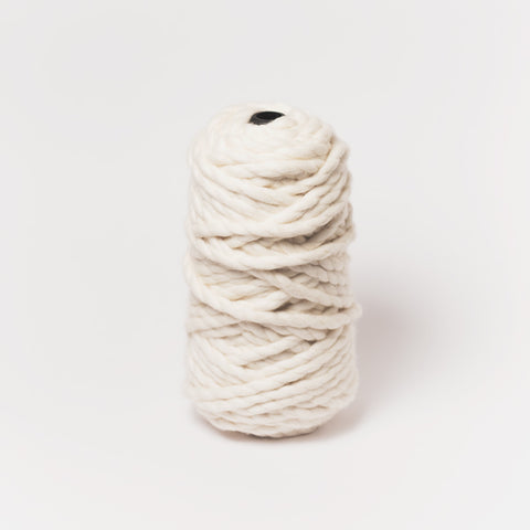 Plump & Co's giant yarn in white 2 ply. Use our plumptious XXL New Zealand merino wool with our giant knitting needles or extreme crochet hooks to make your own chunky knit blanket or throw.