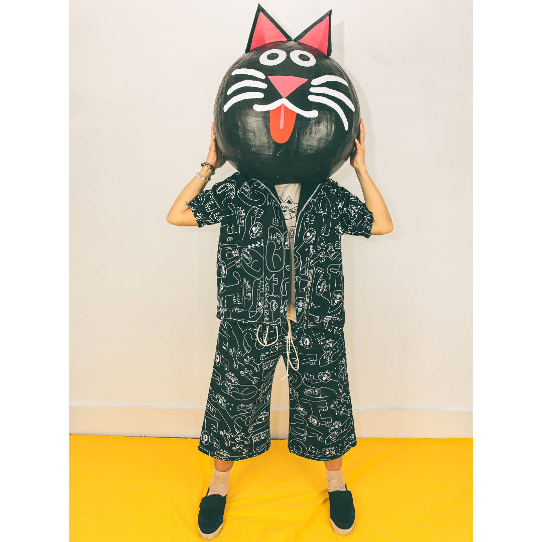 Cat print black and white trouser suit designed and made by YUK FUN in the UK