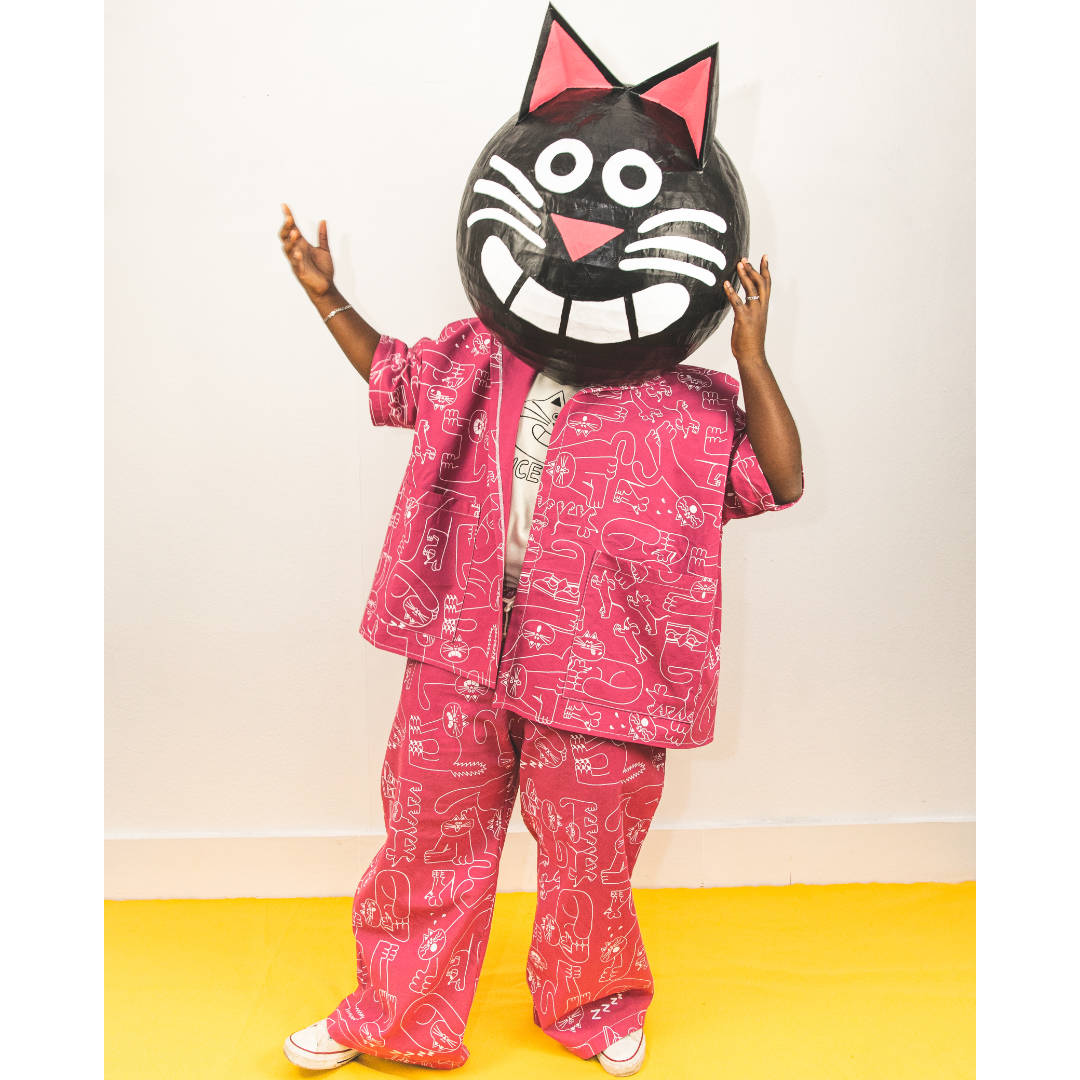 THE GREATEST PINK SUIT ever made with 100% organic cotton and hand printed with a fun cat pattern by YUK FUN