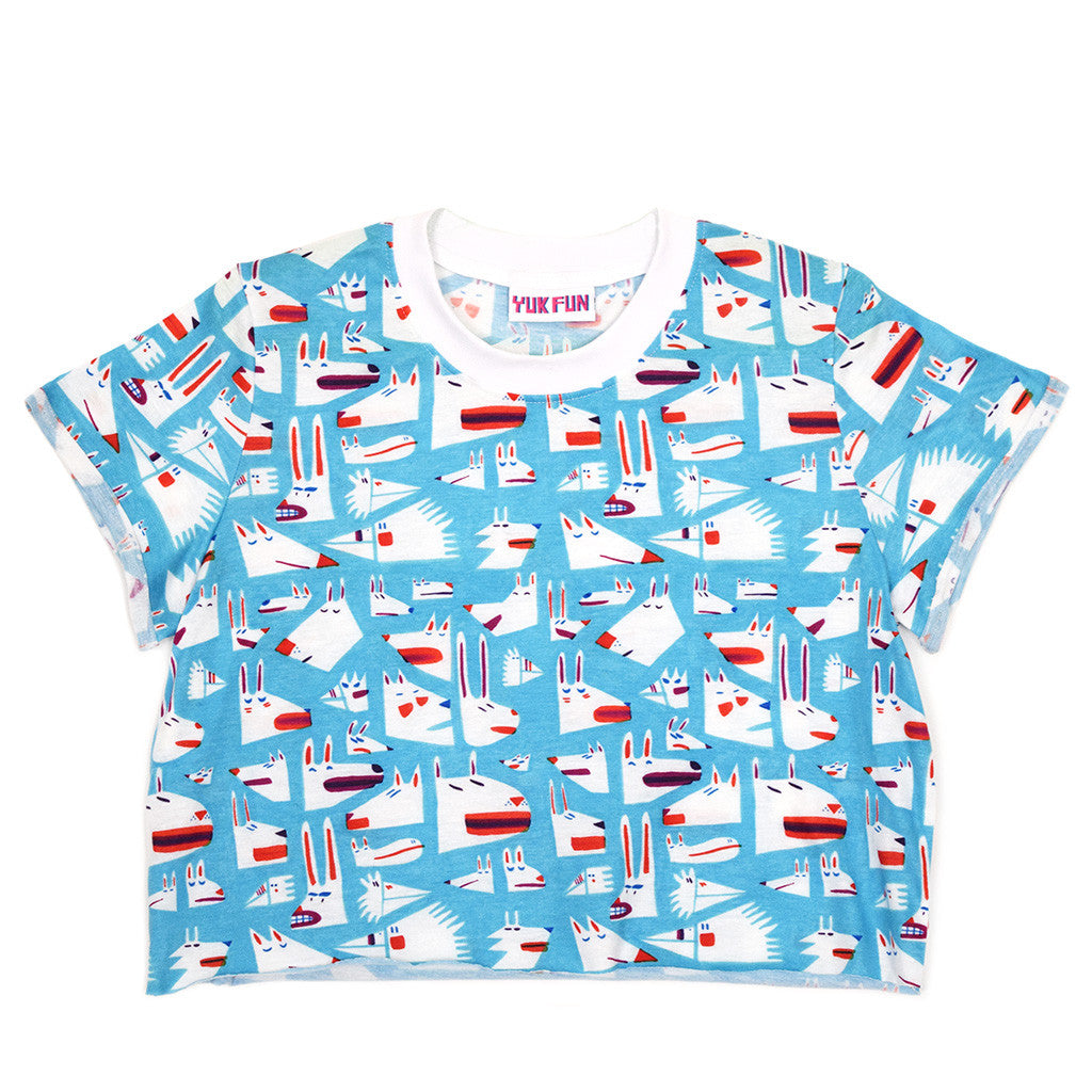 Super kawaii blue animals crop top by YUK FUN