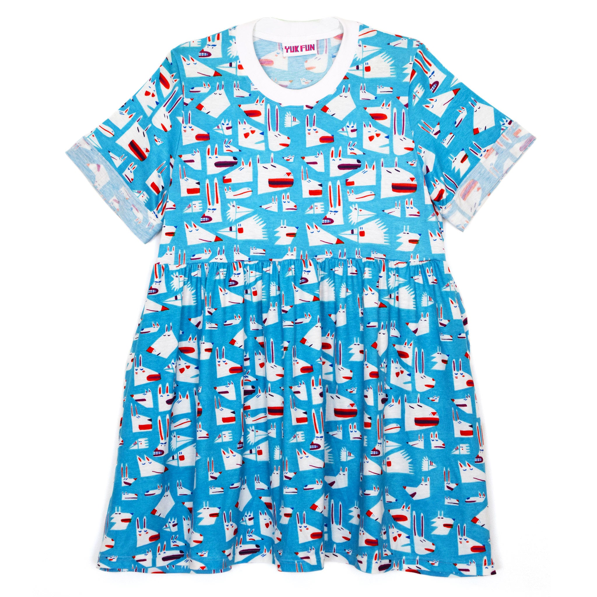 Cute print T-shirt smock dress by YUK FUN