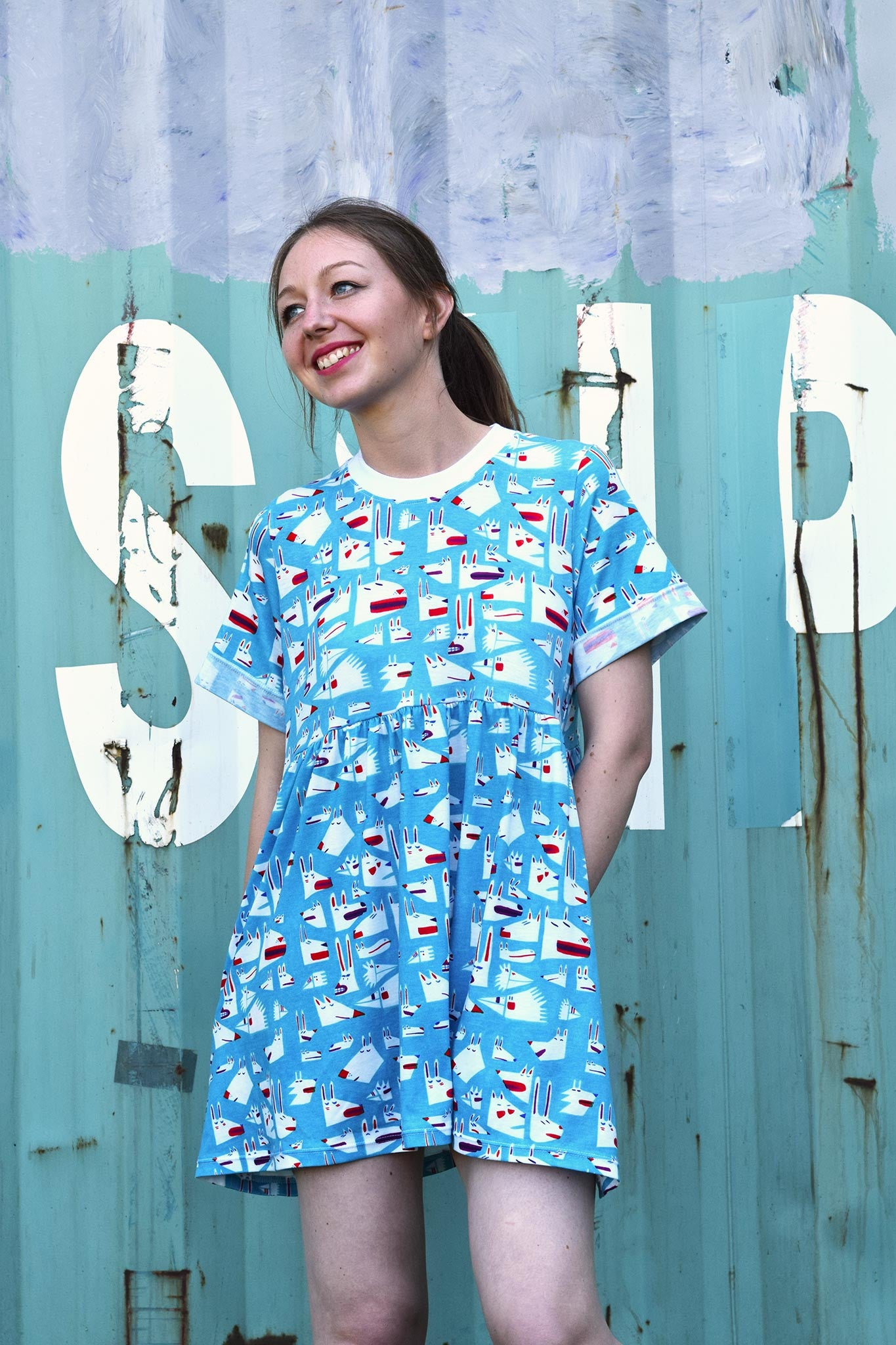 Cute blue animal print T-shirt smock dress by YUK FUN