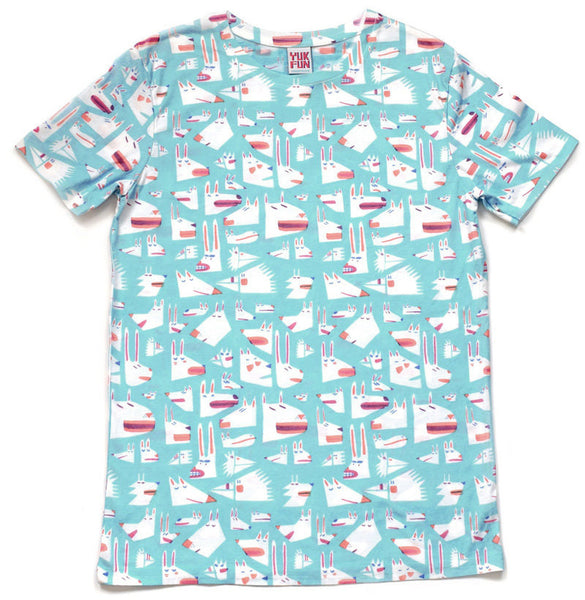 Crazy animal faces t-shirt in turquoise by illustration duo YUK FUN