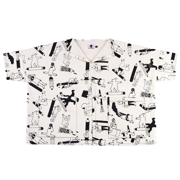 The YUK FUN Artist Jacket: boxy cut, oversized with BIG pockets. Handmade and screen printed by illustration duo YUK FUN