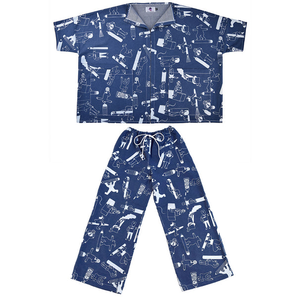 Double denim Artist Suit ethically made from sustainable 100% organic cotton by illustration duo YUK FUN