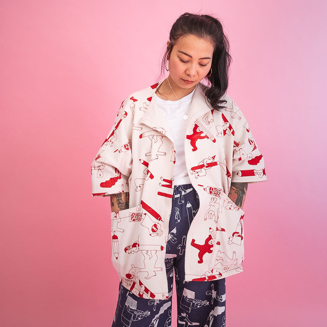 YUK FUN Artist Jacket with nice big pockets, handmade and screen printed in the UK