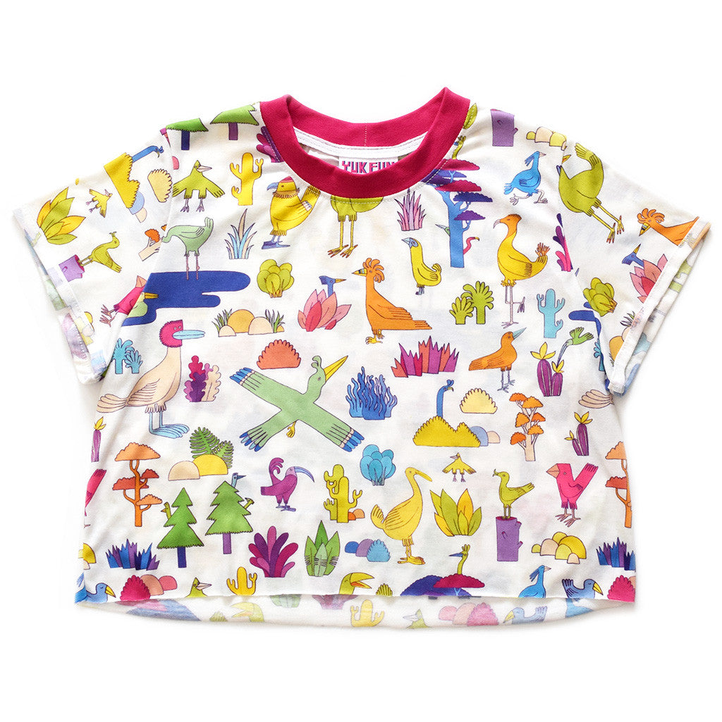 Super cute multicoloured bird print crop top by YUK FUN