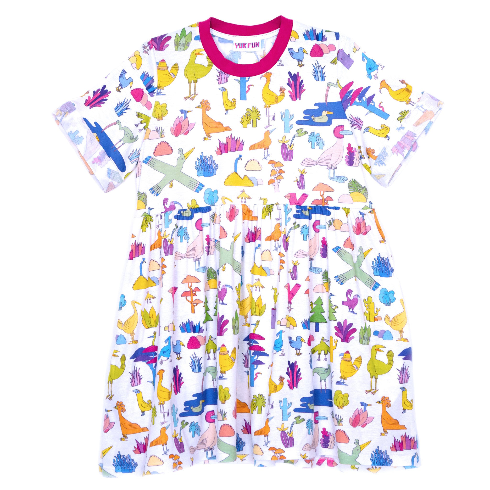 YUK FUN Birds and Cacti all-over print T-shirt smock dress
