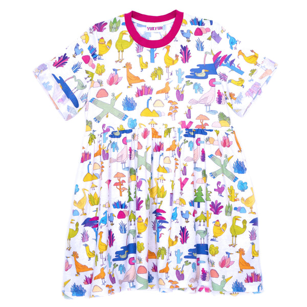 Cute birds and plants print T-shirt smock dress by indie label YUK FUN