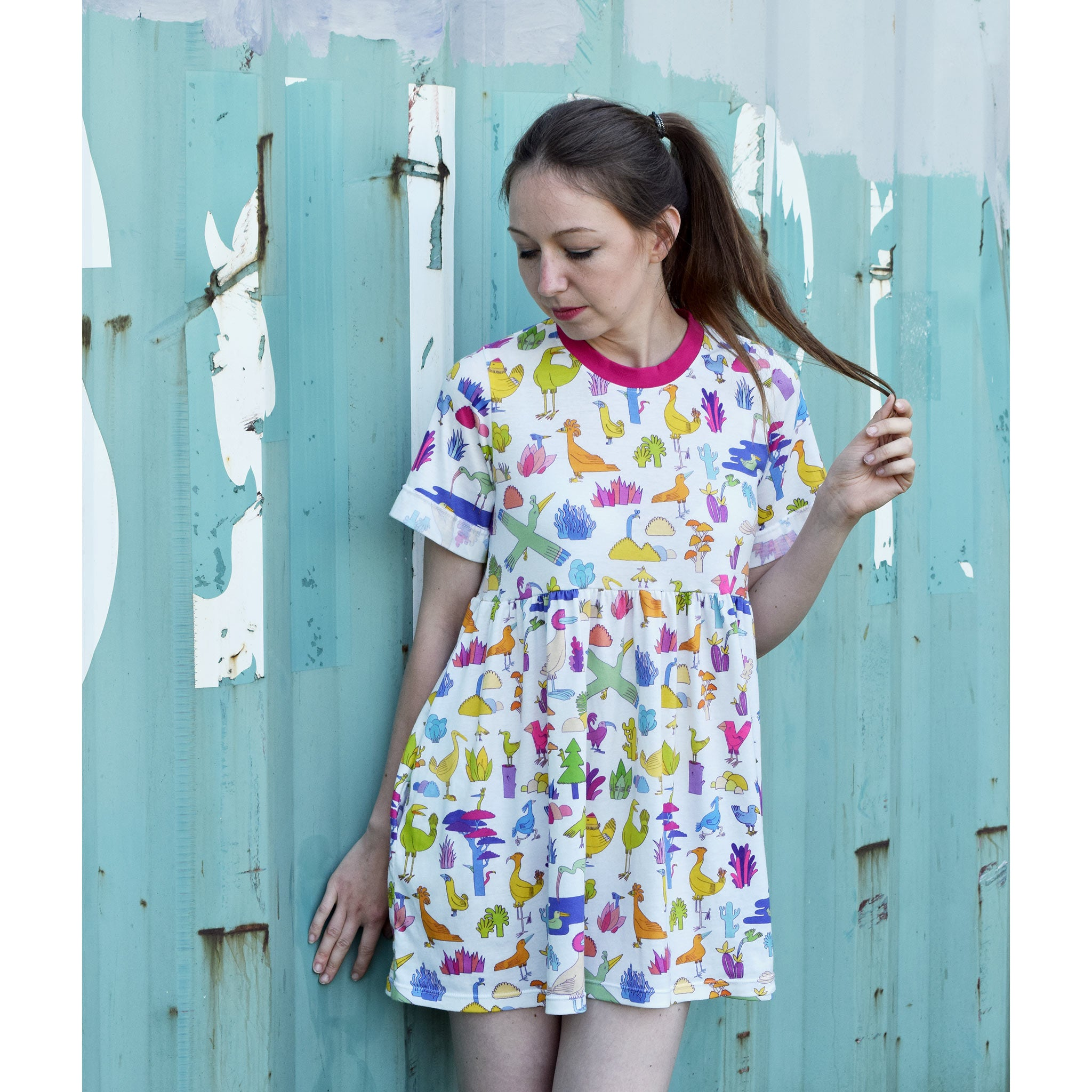 Super kawaii birds and cacti print T-shirt smock dress by indie label YUK FUN