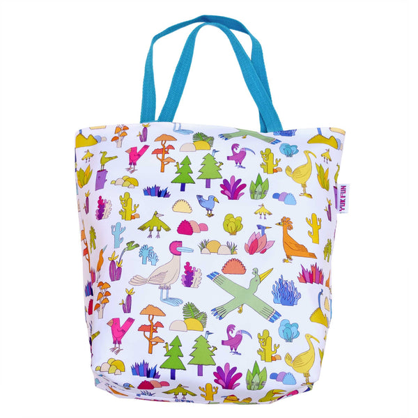 YUK FUN Birds and Cacti Print Shopper Bag