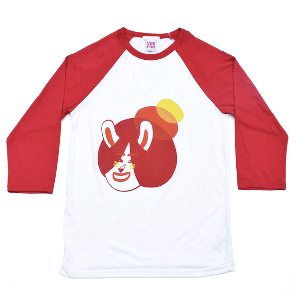 YUK FUN screen printed baseball T-shirt with cute bunny design