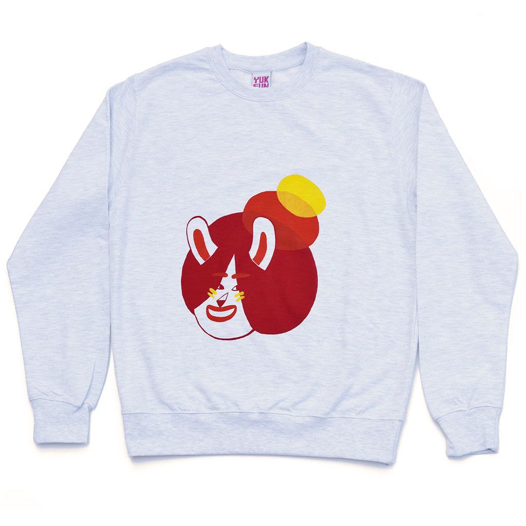 Super cosy grey sweatshirt screen printed by YUK FUN with a cute bunny girl illustration
