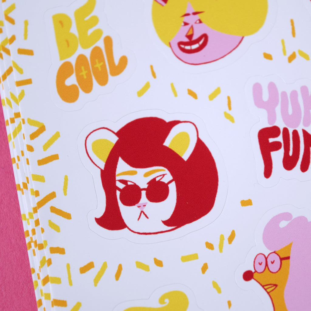 Detail of cool cat character on a YUK FUN sticker sheet