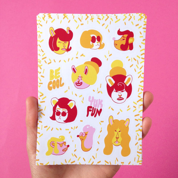 Cool characters sticker sheet by illustration duo YUK FUN