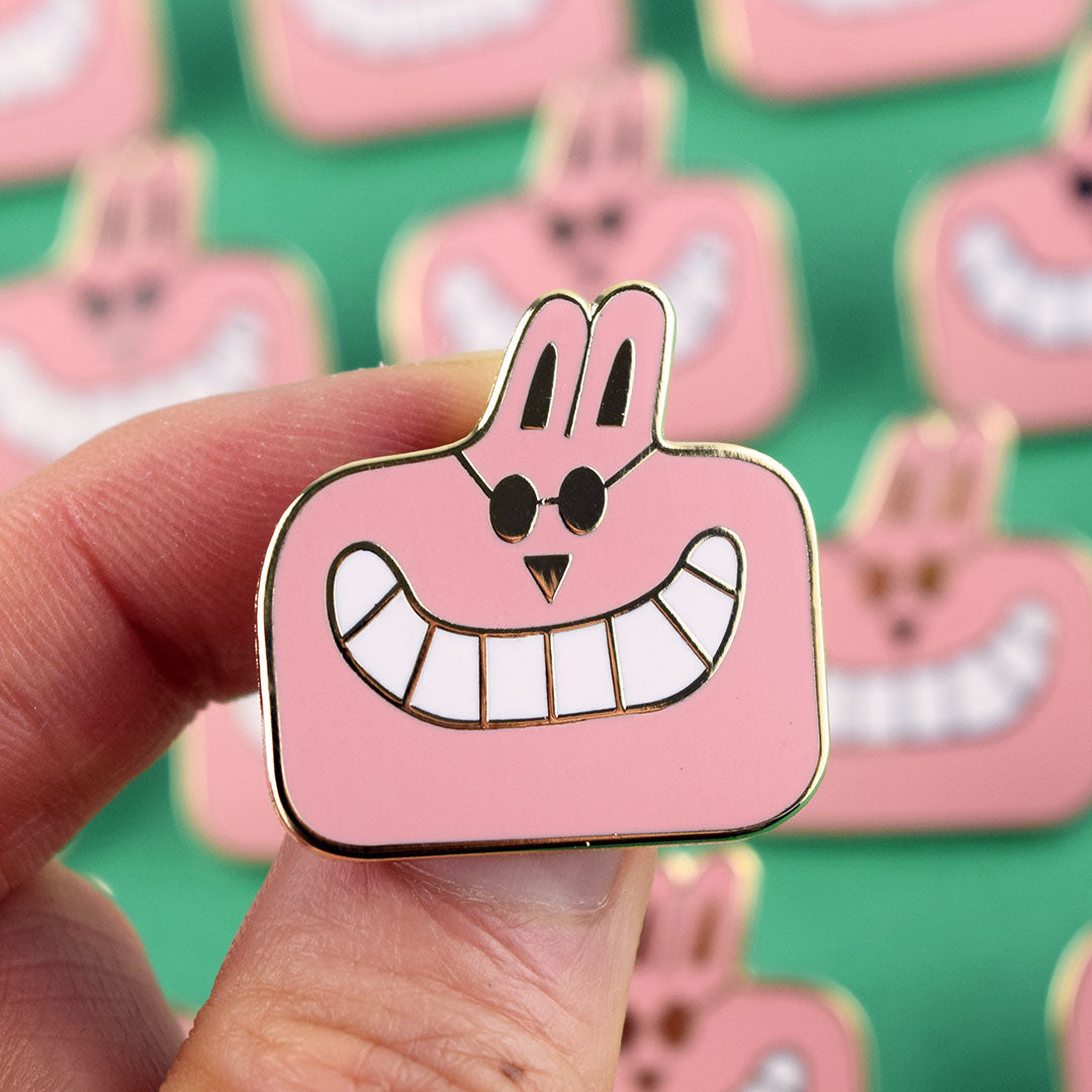 Cheeky chappy happy peach face Enamel Pin by YUK FUN