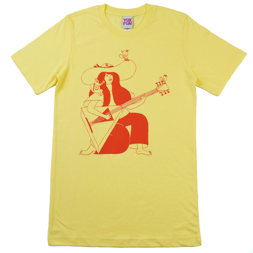 Rad female guitarist T-shirt from indie label YUK FUN