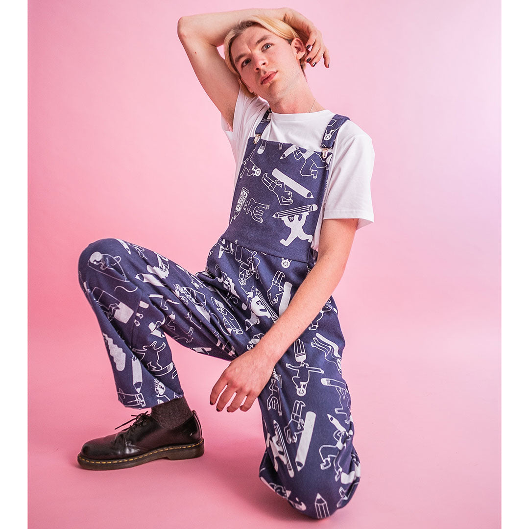 Awesome all over print denim dungarees from indie label YUK FUN