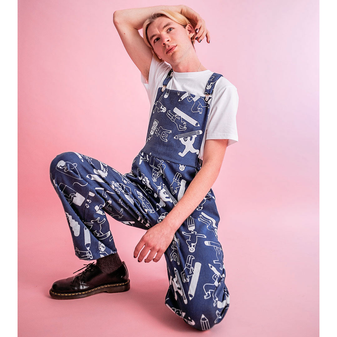 YUK FUN X The Emperor's Old Clothes Pencil Party Dungarees in Denim - PRE ORDER