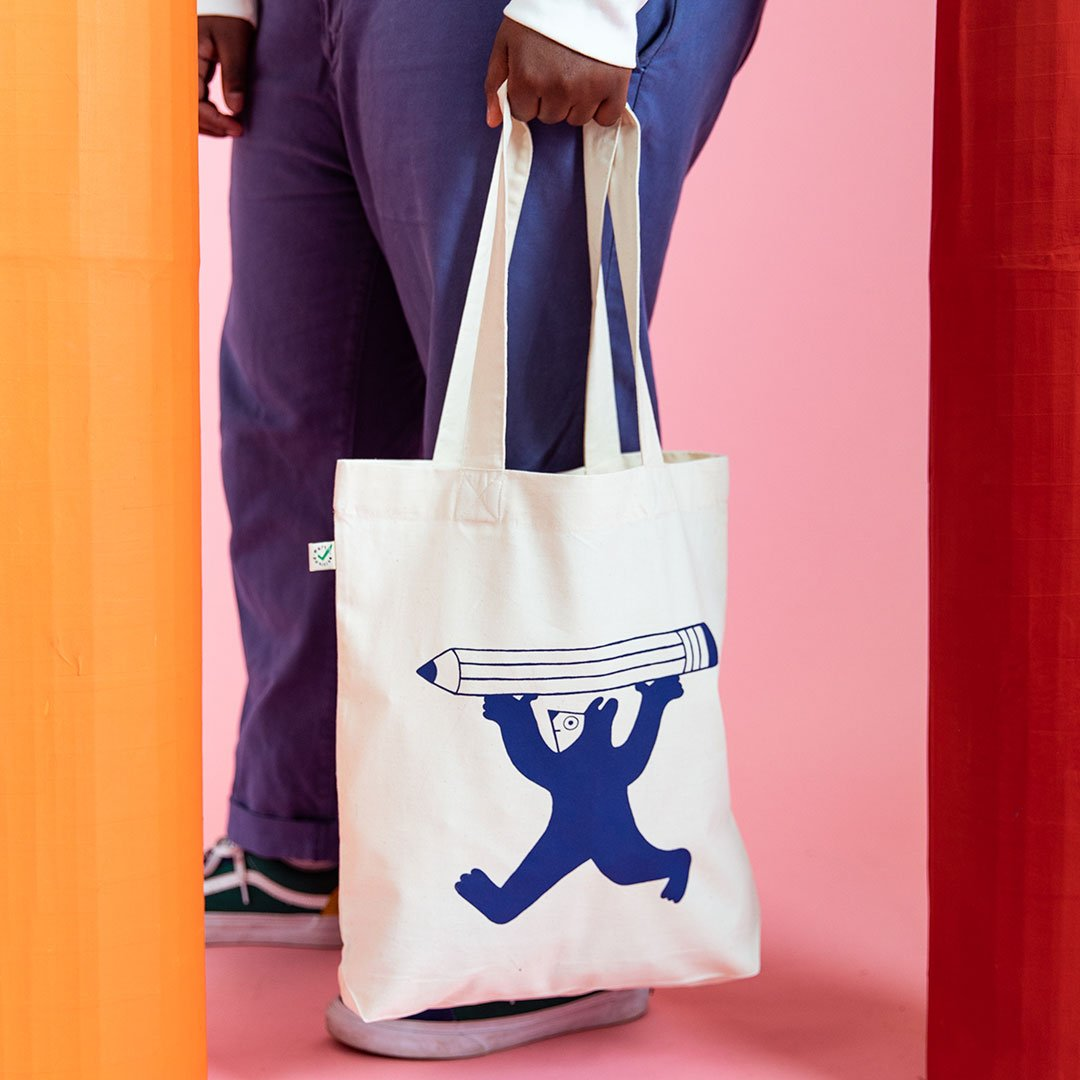 Awesome illustrated tote bag featuring fun character by YUK FUN