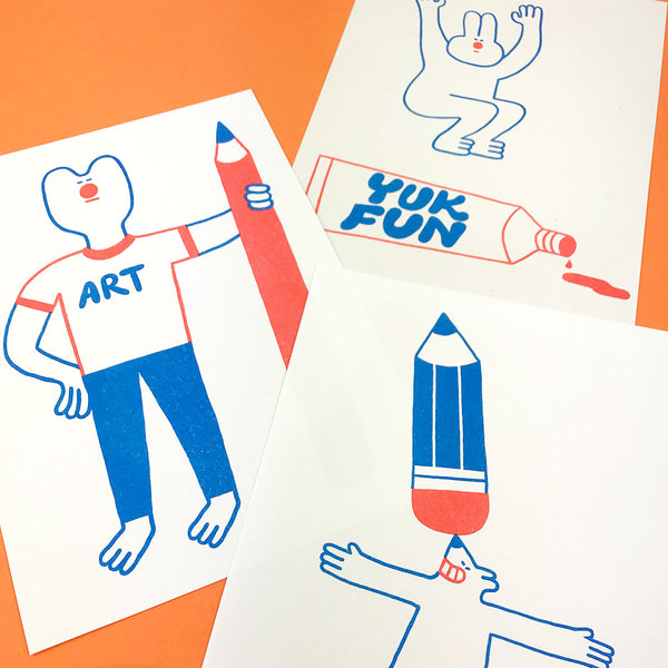 YUK FUN Pencil Party Riso Art Print Set of 3