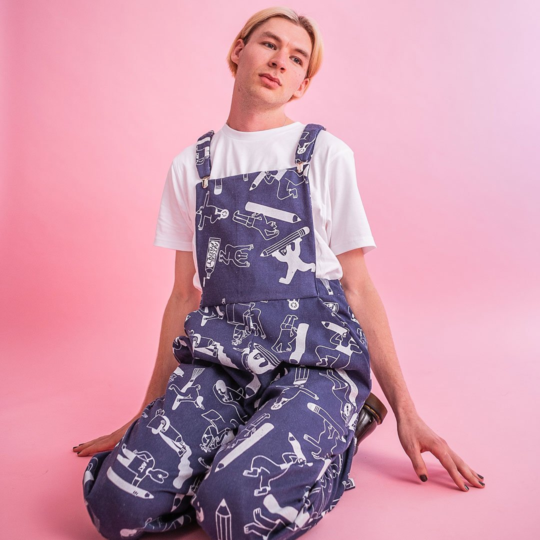 Amazing handprinted all over print denim dungarees made in the UK