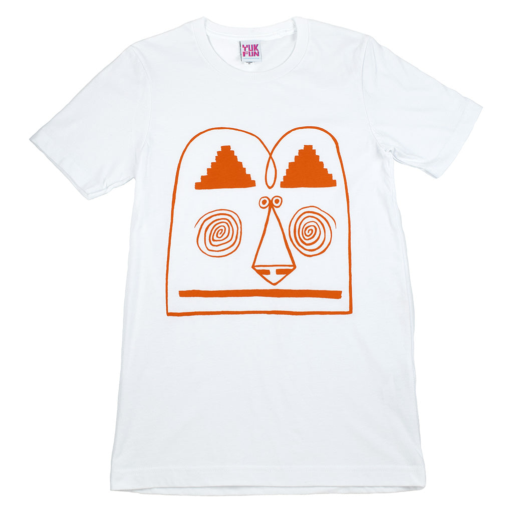 Funny face graphic white t-shirt screen printed by indie label YUK FUN