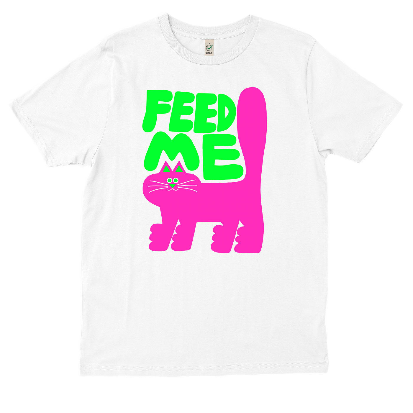 Super hot acid green & pink FEED ME slogan cat T-shirt by YUK FUN