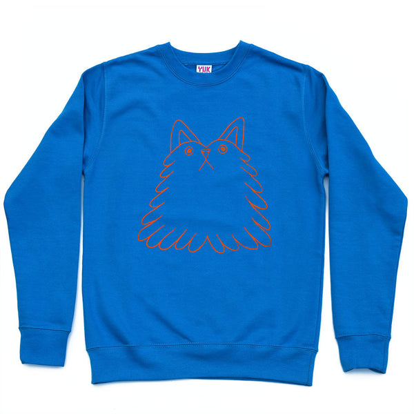 Funny grumpy cat sweatshirt screen printed by illustration duo YUK FUN